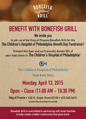 Largest Bonefish Grill in the Nation to Open in King of Prussia; Partners with the Children's Hospital of Philadelphia