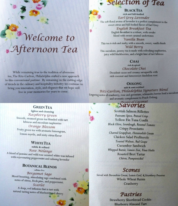 Ritz Carlton Philadelphia Afternoon Tea Menu