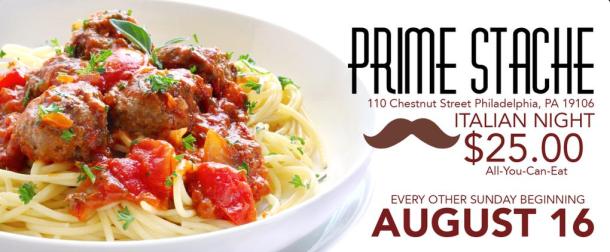 Prime Stache AYCE Spaghetti, Meatballs, Salad and Bread