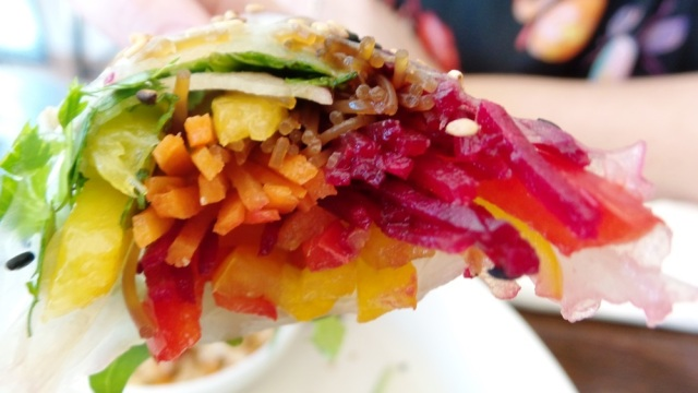 Close Up of Summer Roll at Living Room Cafe