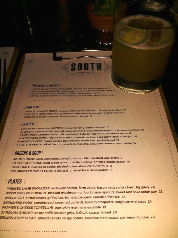 SOUTH Kitchen Menu & Kentucky Butler cocktail