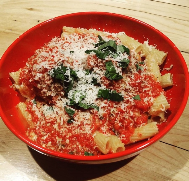 Rigatoni with Red Gravy and Meatballs at Marino's Bistro To Go