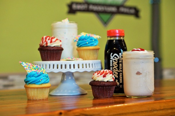 Punk Burger Birthday Shakes and Cupcakes