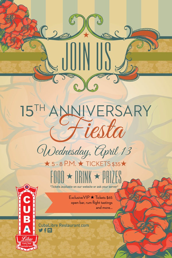 Celebrating 15 Years 15th Vow Renewal Anniversary Or: Cuba Libre Restaurant & Rum Bar Celebrates 15 Years In