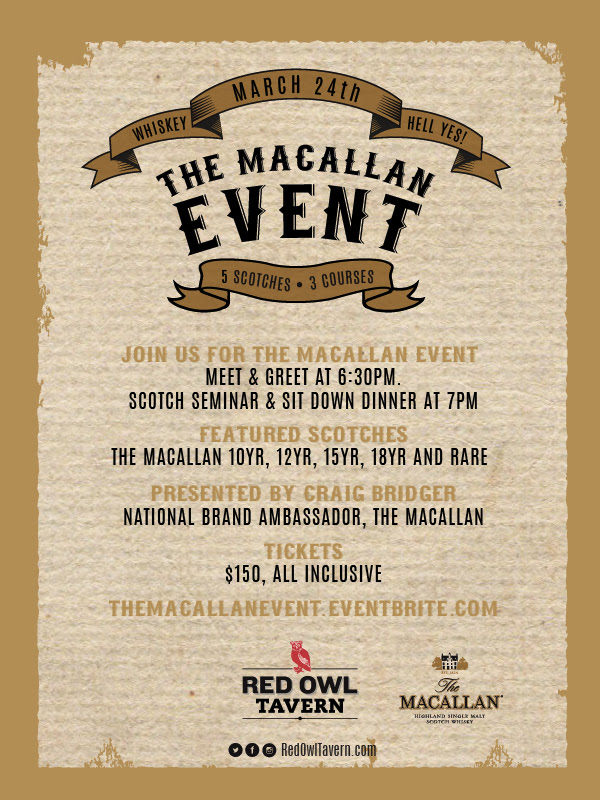 Macallan Whiskey Event at The Red Owl Tavern