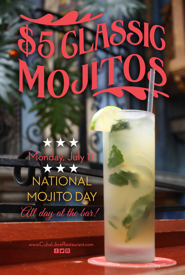 $5 Mojitos on Mojito Day at Cuba Libre Philadelphia
