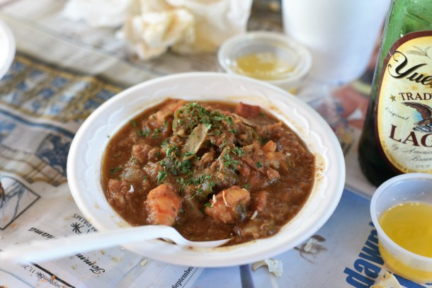 Delicious Gator Gumbo at Peace River Seafood Punta Gorda FL