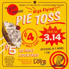CANCELLED: QC Malt Pie Throwing Competition on Pi Day at Tattooed Mom