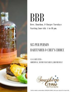Beer, Bourbon, and Burger Night at Southern Cross Kitchen in Conshohocken