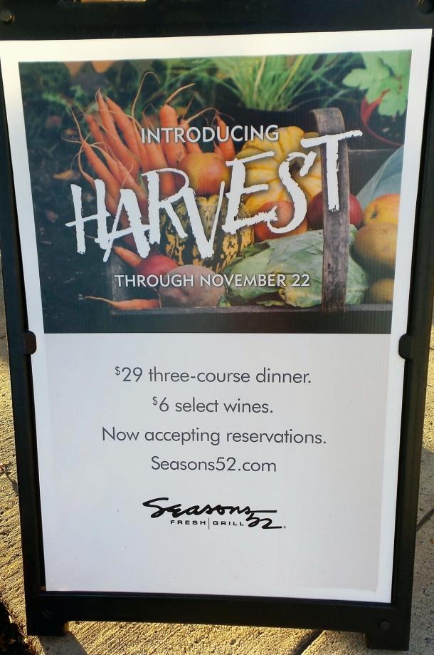 Seasons 52 Cherry Hill Mall Harvest Menu